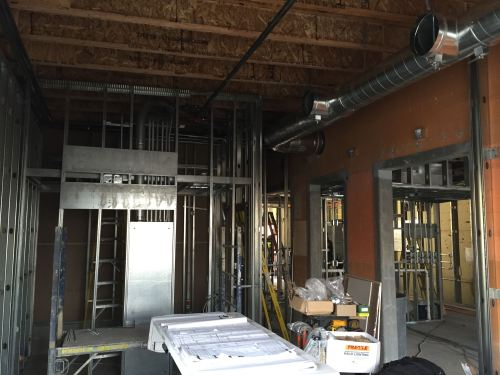 Interior progress of Zydeco Po-Boys Restaurant