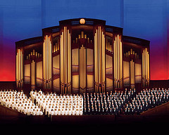 Mormon Tabernacle Choir and organ pipes