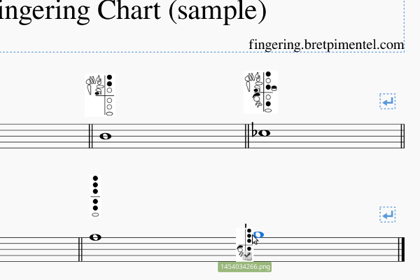 Creating fingering charts with diagrams from the Fingering