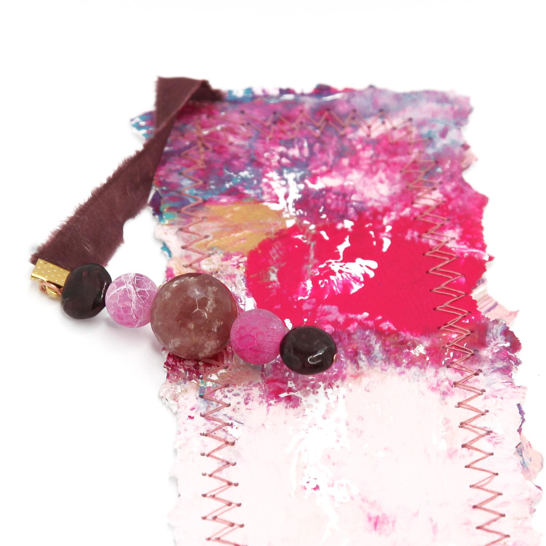 bookmark_original_artwork_silk_hand_dyed_ribbon_gemstone_crystal_garnet_hot_pink_detail