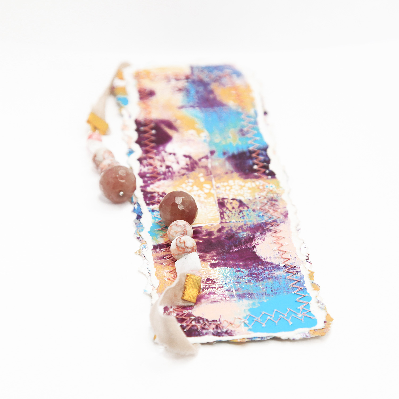 bookmark_original_artwork_silk_hand_dyed_ribbon_gemstone_crystal_moonstone_rhodochrosite_front