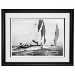 Stunning Black and white photograph of sailing boats Astra and Shamrock sailing at sea. This photograph was scanned from original glass plate negative. Picture was taken by Frank Beken in 1934, Available to purchase form Brett Gallery. Beken of Cowes Framed Prints, Beken of Cowes archives, Beken of Cowes Prints, Beken Archive, Cowes Week old Photographs, Beken Prints, Frank beken of Cowes.