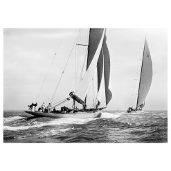 Stunning unframed silver gelatin black and white photograph of sailing yacht Astra and Shamrock 4 sailing at sea. This picture was taken by Frank Beken in 1934 on his handmade camera. This picture was scanned from original negatives from period. Available to buy from Brett Gallery. Beken of Cowes Framed Prints, Beken of Cowes archives, Beken of Cowes Prints, Beken Archive, Cowes Week old Photographs, Beken Prints, Frank beken of Cowes.
