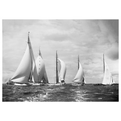 5 yachts sailing at sea. Britannia, Astra, Shamrock, Velsheda and Candida. Photograph scanned from original glass plate negative. Dated 1934 and taken by Frank Beken. Beken of Cowes Framed Prints, Beken of Cowes archives, Beken of Cowes Prints, Beken Archive, Cowes Week old Photographs, Beken Prints, Frank beken of Cowes.