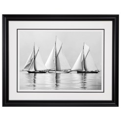 Black and White Photograph of Sailing yachts Deerhound, Vanduara and Neptune becalmed at sea. Picture was scanned from original glass plate negative and taken by a great marine photographer Alfred John West in 1885 on his handmade camera. Available for sale at Brett Gallery. Beken of Cowes Framed Prints, Beken of Cowes archives, Beken of Cowes Prints, Beken Archive, Cowes Week old Photographs, Beken Prints, Frank beken of Cowes.
