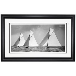 Beautiful framed in black frame black and white photograph of sailing boats Isolde, penitent and Niagara. Taken by Alfred John West in 1857. Picture printed from original glass plate negative from Beken of Cowes Archive. Available to purchase from Brett Gallery. Beken of Cowes Framed Prints, Beken of Cowes archives, Beken of Cowes Prints, Beken Archive, Cowes Week old Photographs, Beken Prints, Frank beken of Cowes.