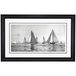 Framed, Panoramic, Black and White, silver gelatine, Limited Edition Photograph of sailing Yachts Lulworth and Norda at sea. These boats were pictures by a great marine photographer Frank Beken in 1927 on his handmade camera. This sailing photograph was scanned from original glass plate negative and printed in dark room at Brett Gallery. Available to buy in 5 sizes. Beken of Cowes Framed Prints, Beken of Cowes archives, Beken of Cowes Prints, Beken Archive, Cowes Week old Photographs, Beken Prints, Frank beken of Cowes.