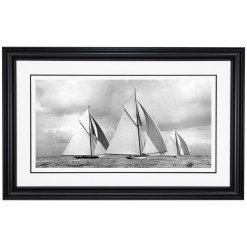 Stunning framed black and white, silver gelatin, limited edition photograph of sailing yachts Lulworth, White Heather and Britannia taken by a famous marine photographer Frank Beken in 1927. This Photograph was scanned from original glass plate negative. Available to purchase from Brett Gallery in different sizes. Beken of Cowes Framed Prints, Beken of Cowes archives, Beken of Cowes Prints, Beken Archive, Cowes Week old Photographs, Beken Prints, Frank beken of Cowes.