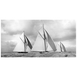 Stunning Black and white, limited Edition, silver gelatine, developed in he darkroom photograph of sailing boats Lulworth, White Heather and Britannia sailing at sea. This picture was scanned from original glass plate negative. Available in 5 sizes to purchase from Brett Gallery. Beken of Cowes Framed Prints, Beken of Cowes archives, Beken of Cowes Prints, Beken Archive, Cowes Week old Photographs, Beken Prints, Frank beken of Cowes.