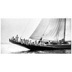 Unframed Black and White, Silver Gelatin, Limited edition Photograph of sailing yacht Meteor 2. Taken by a talented marine photographer Alfred John West in 1897. Available to purchase in various sizes from the Brett Gallery. this picture was developed in the darkroom and scanned from original glass plat negative from period. Beken of Cowes Framed Prints, Beken of Cowes archives, Beken of Cowes Prints, Beken Archive, Cowes Week old Photographs, Beken Prints, Frank beken of Cowes.