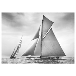 Unframed Black and White, Silver Gelatin, Limited edition Photograph of sailing yacht Nyria and Navahoe. Taken by a talented marine photographer Alfred John West in 1906. This photograph was scanned from original glass plate negatives and developed in the dark room as they used to do it period. Available to purchase in deferent sizes from Brett Gallery. Beken of Cowes Framed Prints, Beken of Cowes archives, Beken of Cowes Prints, Beken Archive, Cowes Week old Photographs, Beken Prints, Frank beken of Cowes.
