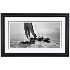 Framed Limited edition, Silver Gelatin, Black and White Photograph of sailing boat Prince of Wales Yacht Britannia. Taken by a talented marine photographer Alfred John West in 1894. Available to purchase in various sizes from the Brett Gallery. This picture was developed in the darkroom and scanned from original glass plat negative from period. Beken of Cowes Framed Prints, Beken of Cowes archives, Beken of Cowes Prints, Beken Archive, Cowes Week old Photographs, Beken Prints, Frank beken of Cowes.