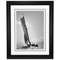 Framed Limited edition, Silver Gelatin, Black and White Photograph of sailing boat Prince of Wales Yacht Britannia. Taken by a talented marine photographer Alfred John West in 1894. This photograph was scanned from original glass plate negatives and developed in the dark room as they used to do it period. Available to purchase in deferent sizes from Brett Gallery. Beken of Cowes Framed Prints, Beken of Cowes archives, Beken of Cowes Prints, Beken Archive, Cowes Week old Photographs, Beken Prints, Frank beken of Cowes.