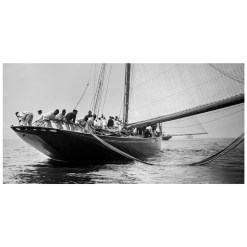 Unframed Black and White, Silver Gelatin, Limited edition Photograph of sailing yacht Prince of Wales Yacht Britannia when all the sailors are puling the rope from the water. Taken by a talented marine photographer Alfred John West in 1897. Available to purchase in various sizes from the Brett Gallery. This picture was developed in the darkroom and scanned from original glass plat negative from period. Beken of Cowes Framed Prints, Beken of Cowes archives, Beken of Cowes Prints, Beken Archive, Cowes Week old Photographs, Beken Prints, Frank beken of Cowes.