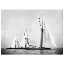 Unframed Black and White, Silver Gelatin, Limited edition Photograph of sailing yacht Satanita, Britannia and Meteor 2. Taken by a talented marine photographer Alfred John West in 1886. This photograph was scanned from original glass plate negatives and developed in the dark room as they used to do it period. Available to purchase in deferent sizes from Brett Gallery. Beken of Cowes Framed Prints, Beken of Cowes archives, Beken of Cowes Prints, Beken Archive, Cowes Week old Photographs, Beken Prints, Frank beken of Cowes.