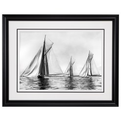 Framed Limited edition, Silver Gelatin, Black and White Photograph of sailing boat Sonya Becalmed. Available to purchase in various sizes from the Brett Gallery. This picture was developed in the darkroom and scanned from original glass plat negative from period. Taken by a famous marine photographer Frank Beken in 1905. Beken of Cowes Framed Prints, Beken of Cowes archives, Beken of Cowes Prints, Beken Archive, Cowes Week old Photographs, Beken Prints, Frank beken of Cowes.