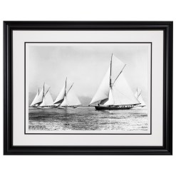 Framed Limited edition, Silver Gelatin, Black and White Photograph of sailing 5 boats at Start Start Ryde Town Cup sailing at sea. Taken by a famous marine photographer Frank Beken in 1903. Available to purchase in various sizes from the Brett Gallery. This picture was developed in the darkroom and scanned from original glass plat negative from period. Beken of Cowes Framed Prints, Beken of Cowes archives, Beken of Cowes Prints, Beken Archive, Cowes Week old Photographs, Beken Prints, Frank beken of Cowes.