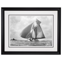 Framed Limited edition, Silver Gelatin, Black and White Photograph of sailing boat Suzanne with sails full of wind. Taken by a famous marine photographer Frank Beken in 1911. Available to purchase in various sizes from the Brett Gallery. This picture was developed in the darkroom and scanned from original glass plat negative from period. Beken of Cowes Framed Prints, Beken of Cowes archives, Beken of Cowes Prints, Beken Archive, Cowes Week old Photographs, Beken Prints, Frank beken of Cowes.