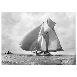 Unframed Black and White, Silver Gelatin, Limited edition Photograph of sailing yacht Suzanne with sails full of wind. Taken by a famous marine photographer Frank Beken in 1911. This photograph was scanned from original glass plate negatives and developed in the dark room as they used to do it period. Available to purchase in deferent sizes from Brett Gallery. Beken of Cowes Framed Prints, Beken of Cowes archives, Beken of Cowes Prints, Beken Archive, Cowes Week old Photographs, Beken Prints, Frank beken of Cowes.