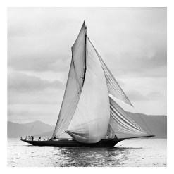 Unframed Black and White, Silver Gelatin, Limited edition Photograph of sailing yacht Thistle on the Clyde sailing in Scotland. Taken by a talented marine photographer Alfred John West in 1893. This photograph was scanned from original glass plate negatives and developed in the dark room as they used to do it period. Available to purchase in deferent sizes from Brett Gallery. Beken of Cowes Framed Prints, Beken of Cowes archives, Beken of Cowes Prints, Beken Archive, Cowes Week old Photographs, Beken Prints, Frank beken of Cowes.