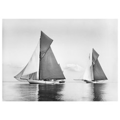 Unframed Black and White, Silver Gelatin, Limited edition Photograph of sailing yacht Valdora and Cicely sailing at see. Taken by a famous marine photographer Frank Beken in 1903. This photograph was scanned from original glass plate negatives and developed in the dark room as they used to do it period. Available to purchase in deferent sizes from Brett Gallery. Beken of Cowes Framed Prints, Beken of Cowes archives, Beken of Cowes Prints, Beken Archive, Cowes Week old Photographs, Beken Prints, Frank beken of Cowes.