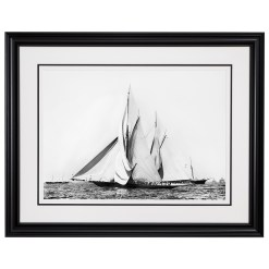 Framed Limited edition, Silver Gelatin, Black and White Photograph of sailing boat Valkyrie 2 and Vigilant at Start of the Americas Cup Race. Taken by a talented marine photographer Henry G Peabody in 1855. Available to purchase in various sizes from the Brett Gallery. This picture was developed in the darkroom and scanned from original glass plat negative from period. Beken of Cowes Framed Prints, Beken of Cowes archives, Beken of Cowes Prints, Beken Archive, Cowes Week old Photographs, Beken Prints, Frank beken of Cowes.