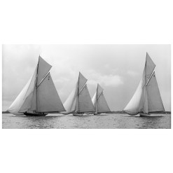 Unframed Black and White, Silver Gelatin, Limited edition Photograph of sailing yachts Vanity, Mariska, Ostara and Paula sailing at sea. Taken by a famous marine photographer Frank Beken in 1912. This photograph was scanned from original glass plate negatives and developed in the dark room as they used to do it period. Available to purchase in deferent sizes from Brett Gallery. Beken of Cowes Framed Prints, Beken of Cowes archives, Beken of Cowes Prints, Beken Archive, Cowes Week old Photographs, Beken Prints, Frank beken of Cowes.