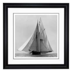 Framed Limited edition, Silver Gelatin, Black and White Photograph of sailing boat Waterwitch sailing at sea. Taken by a talented marine photographer Alfred John West in 1884. Available to purchase in various sizes from the Brett Gallery. This picture was developed in the darkroom and scanned from original glass plat negative from period. Beken of Cowes Framed Prints, Beken of Cowes archives, Beken of Cowes Prints, Beken Archive, Cowes Week old Photographs, Beken Prints, Frank beken of Cowes.