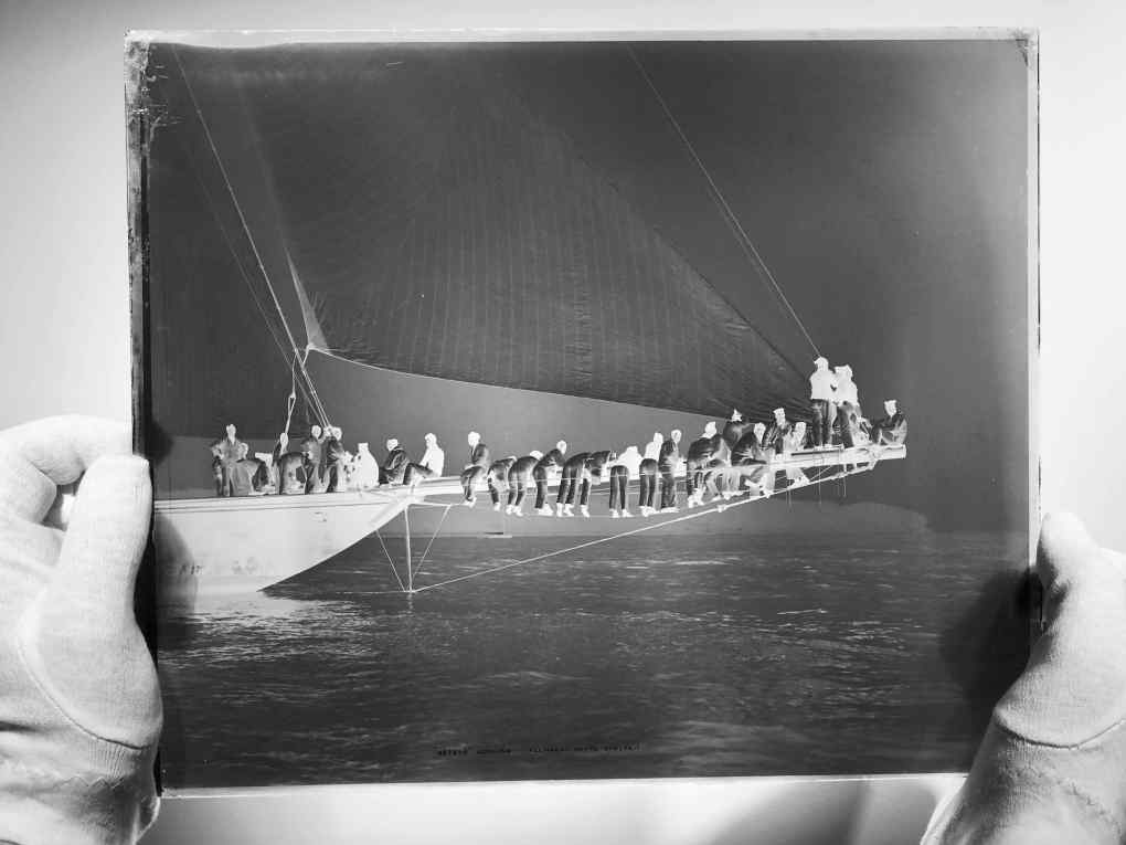 Glass plate negative of sailing yacht meteor 2 aground by Brett Gallery photograph take in 1897 by Alfred John West. Beken of Cowes Framed Prints, Beken of Cowes archives, Beken of Cowes Prints, Beken Archive, Cowes Week old Photographs, Beken Prints, Frank been of Cowes.