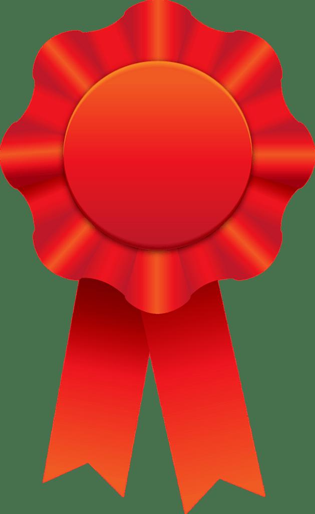 red award ribbon for a big winner