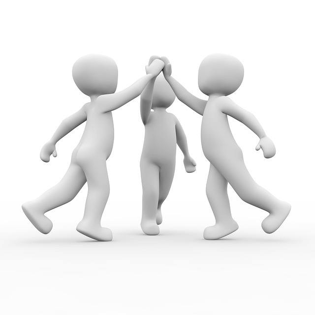 3 friends giving high five