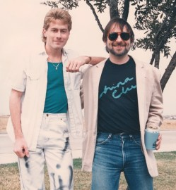 Hanging with guitar guru Elliot Randall during a break. You'd think we were in an episode of Miami Vice, judging by the wardrobe...