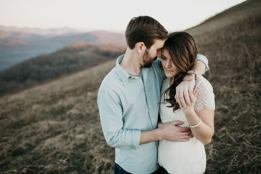 romantic north carolina mountain engagement