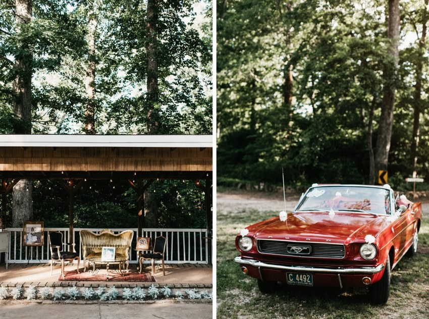 vintage mustang getaway car wedding