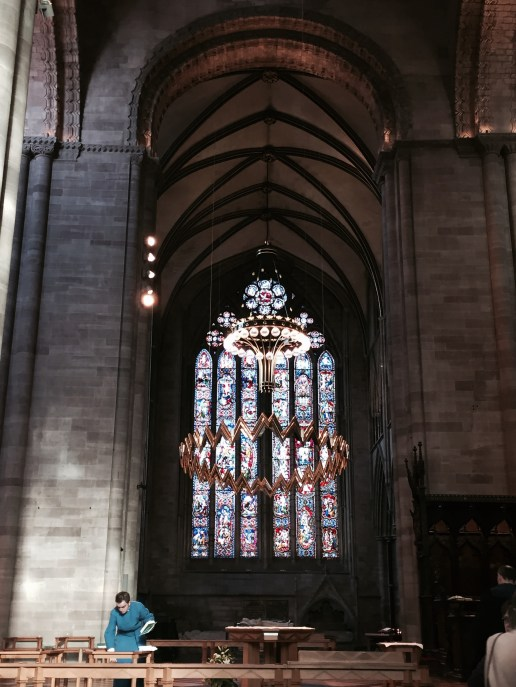 Hereford Cathedral, Gathering Hymn Books at the end of the Sunday service