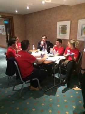 The team discussing ideas