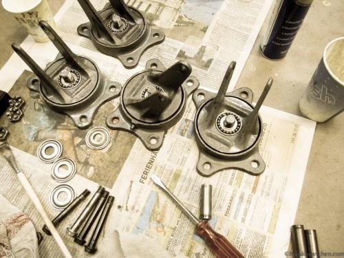Industrieräder neu geölt wieder zusammensetzen