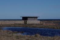 Eine Vogelbeobachtungshütte an der Südspitze Ölands,…