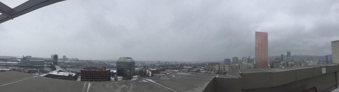 snowy downtown portland