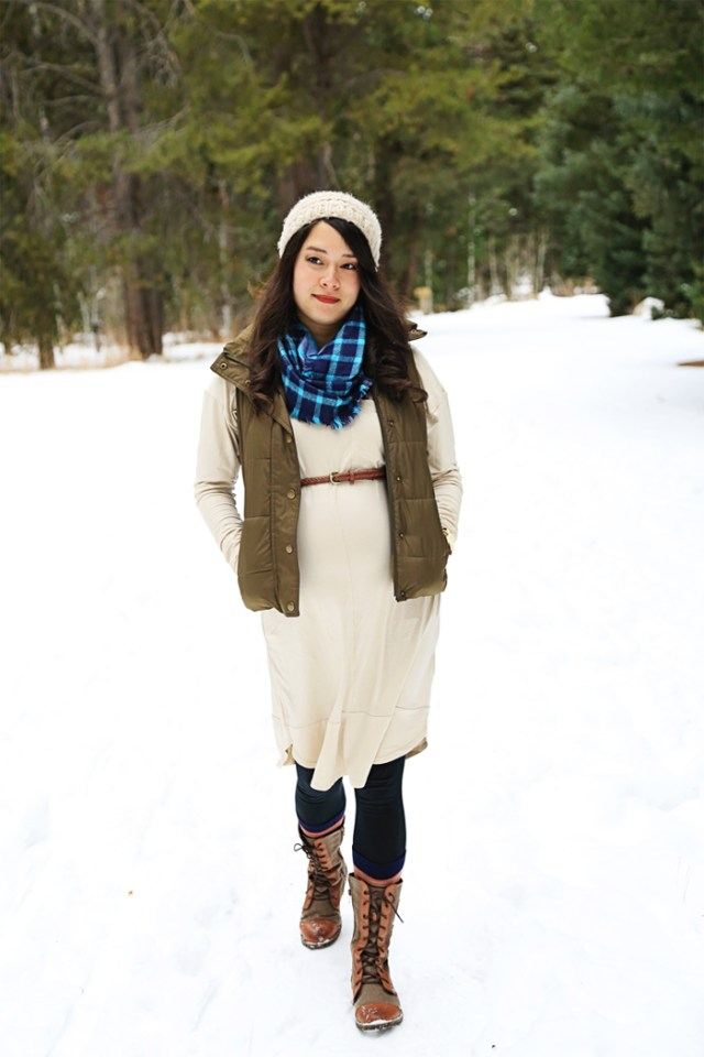 Style your bump in the winter with layers and boots to help with fluctuating temperatures and feet size changes. | brewedtogether.com
