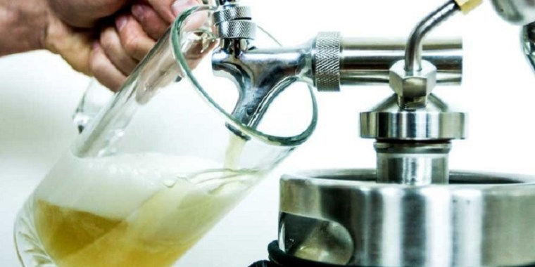 Pouring beer from a Keg