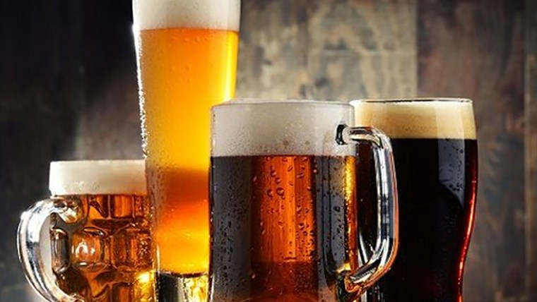 Different types of beer in various beer glasses and beer mugs