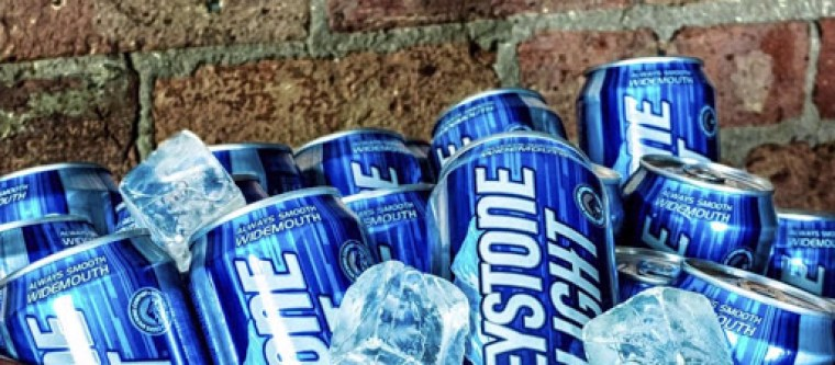 Cans of Keystone Light beer
