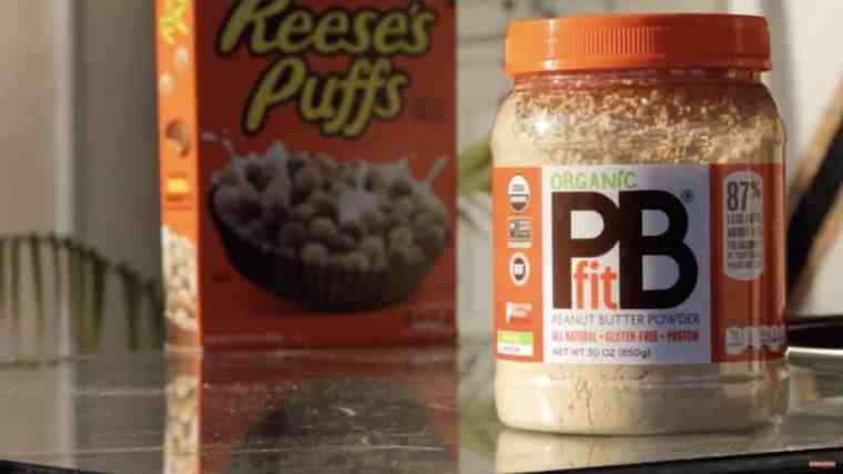Box of chocolate peanut butter cereal and a jar of peanut butter powder.