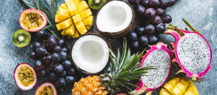 Pineapples, grapes, kiwis and other tropical fruits