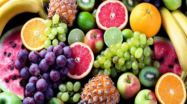 A selection of different tropical fruits