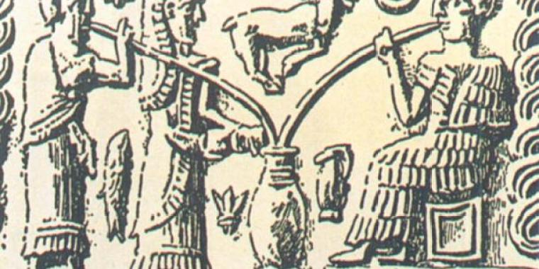 Picture of ancient Sumerians drinking beer from a large jar