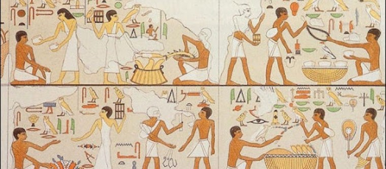 Ancient Egyptian hieroglyphs showing people drinking beer and other beverages.