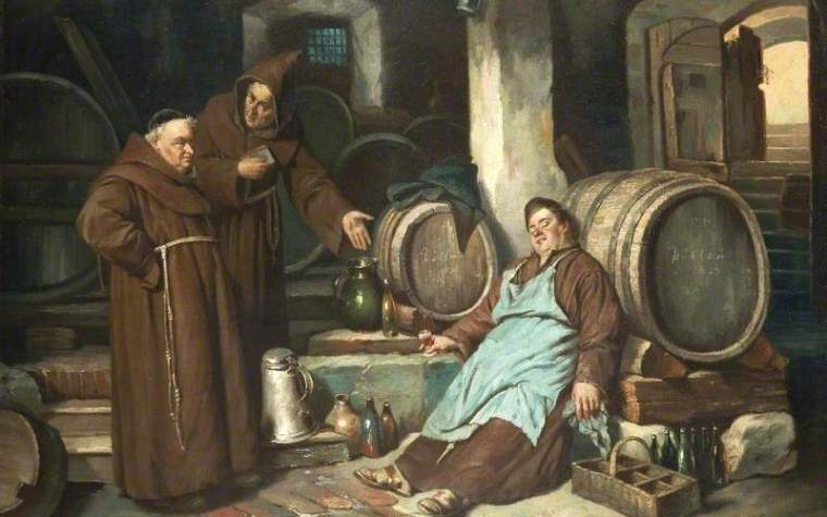 A painting depicting beer brewing in a church monastery in medieval Europe made by monks.
