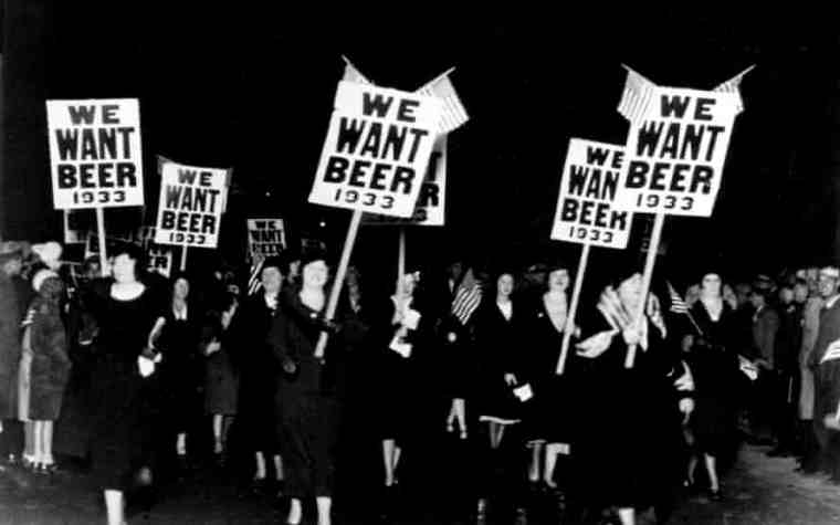 American women protesting against prohibition in the 1930s with signs we want beer.